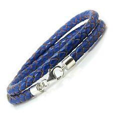 Blue Leather Bracelet-Sterling Silver Clasp-5mm Genuine Braided Wrap Bracelet