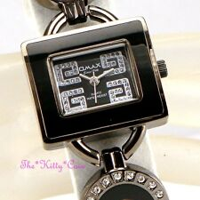 Swiss OMAX Ladies Waterproof Seiko Crystal Hematite Black Bracelet G Watch O004