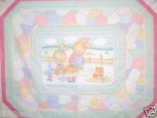 BUNNY DAZE BABY Quilt Top Wallhanging NURSERY Fabric PASTEL BABY BUNNIES NEW