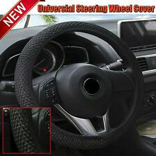15''/38cm Black Car Steering Wheel Cover Microfiber Leather Breathable Anti-slip