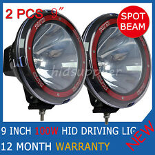 2PCS 100W 9INCH HID XENON Driving Lights Spotlight WORK OFFROAD 4WD Truck 12V