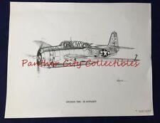 Vintage Dale Adkins Aviation Print Gruman TBM 3E Avenger WWII Torpedo Bomber
