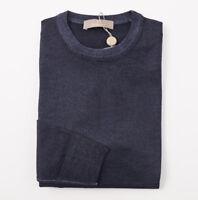 NWT $600 CRUCIANI Dark Blue Garment-Dyed Merino Wool Sweater S (Eu 48)