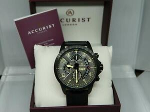 ACCURIST Steel Men's 50 meter Gunmetal Dial Chronograph Leather Strap Watch