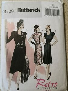 SEMI-FITTED DRESS with SHOULDER PADS Retro '46