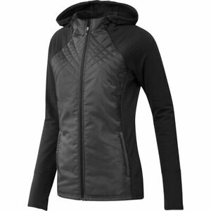 NEW Womens Adidas Hybrid Quilted Full-Zip Jacket Black  - Choose Size!