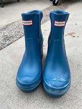 HUNTER Original block heel Chelsea rain boot blue US 8 UK 6 EU 39
