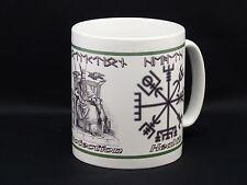 Viking RUNE Ceramic Mug with The World Tree, Odin & the Lucky Vegvisir COMPASS