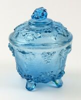 Vintage Blue Jeanette Glass Footed Candy Dish with Lid, Harvest Grape