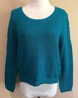 Junior's Pogoda Blue Long Sleeve American Rag Cie Sweater Medium