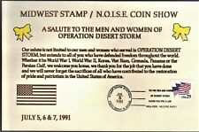 """USA 1991 CARD """"A SALUTE TO THE SERVICE PERSONAL OF DESERT STORM""""  MIDWEST SHOW"""