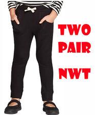2 Pair Cat & Jack 3T Girls Solid Cozy Drawstring Stretch Jogger Pants - Black NW