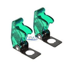 2x Car Marine Industrial Spring Loaded Toggle Switch Safety Cover Clear Green
