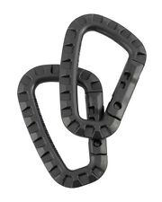 2 x Black ABS Tactical Carabinas Military Army Clip Army Carabiner Keyring