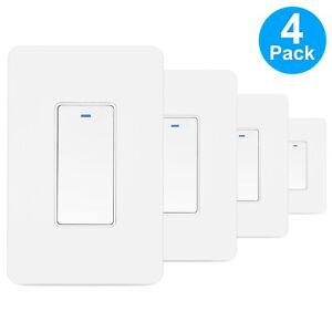 Smart WIFI Light Switch For Alexa Google Home IFTTT With Remote Control 4-Pack