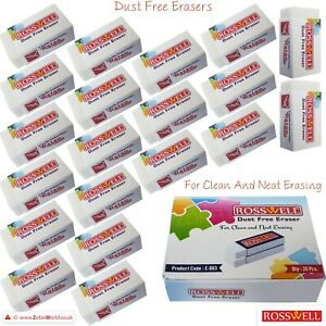 ROSSWELL High Quality White Soft Pencil Erasers Stationery Rubber School Office