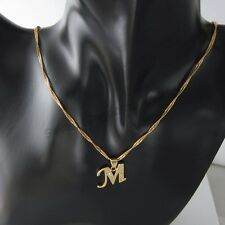 18ct Gold Filled Initial Necklace M, Alphabet Letter Pendant Chain Topaz Dainty