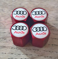 AUDI RED Wheel Valve Dust Caps EXCLUSIVE TO US ALL MODELS RS TT S LINE WHI LOGO