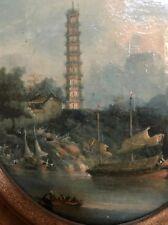 ORIGINALE PAGODA i 18 del XIX secolo cinese CERCHIO di George chinnery dipinto ad olio