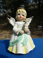 VTG August BIRTHDAY Angel FIGURINE with Bouquet FLOWERS Japan Porcelain