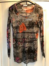 Oui, Semi Sheer Mesh Tunic With Studded Neckline In Grey, Size 16/42