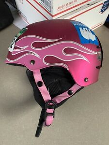 Giro Recruit 2 Snow Sports Youth Size Small Pink With Flames Used Helment