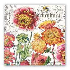 """Michel Design Works Paper Luncheon Napkins """"Blooms and Bees"""" Pkg. of 20"""