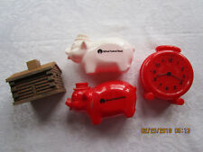 Vintage lot of 4 Piggy Banks 2 Pigs, Clock and Wooden Log Cabin-St. Paul Federal