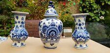 Vintage Antique Dutch Delft Mantle garniture Set 3 Pottery (2 Vases/1 Jar Urn)