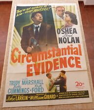 Circumstantial Evidence Movie Poster, Original, Folded, One Sheet, 1945, U.S.A.