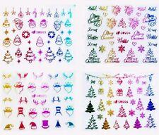 USA 3D RAINBOW CHRISTMAS NAIL ART 3D STICKERS DECALS Trees Santa Snowflakes Bows