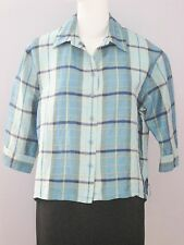 NYGARD Collection Petites Size 16 Blue 100% Silk 3/4 Sleeves Button Down Blouse