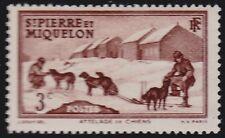 SAINT PIERRE ET MIQUELON N°168** Chiens de traîneau,1941 SPM sled dog MNH