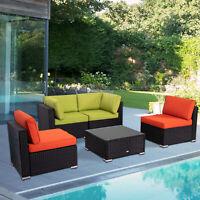 Patio Sofa Set 5PCS Outdoor Wicker Furniture Garden Rattan Sectional Set Cushion