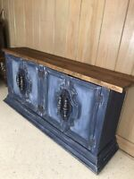 Farm House Shabby Chic Solid Wood Hutch Blue white Vintage Furniture Hans Paint
