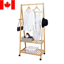 Sortwise® New 2-tier Bamboo Clothing Storage Laundry Rack Shoe Clothes Organizer