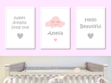 Personalised Sweet Dreams Pink Nursery Wall Art Print Baby Room Children Decor