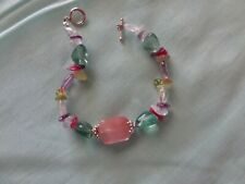 Bracelet W/ Natural Stones Sterling Silver Clasp 925