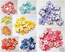 Shaped Flower Petal Buttons Bright Shank Craft Sewing 15mm Scrapbooking