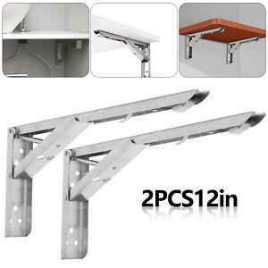 Pair 12''Heavy Duty Stainles Steel L-Shaped Wall Shelf Bracket Support Foldable