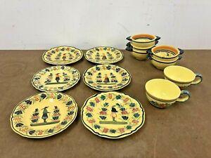 Vintage Henriot Quimper Lot plate bowl cup POTTERY Breton Man & Woman set france