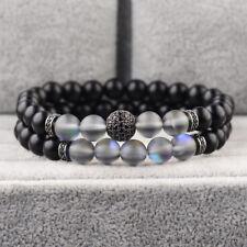 Fashion Micro Pave CZ Balls Crown Charm Natural Moonstone Onyx Stone Bracelets