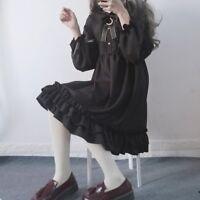 Lolita Japanese Girl Chiffon Dress Gothic Ruffles Puff Sleeve Cosplay Cute Dress