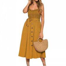 Women Sleeveless Ruffle Beach Sundress Polka Dot A-Line Slim Fit Dress Holiday B