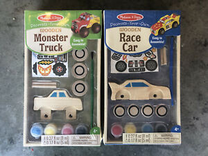 Melissa and Doug Decorate Your Own Wooden Monster Truck and Race Car - Paint Kit