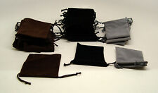 38 PCS black grey and brown 3x4 Jewelry Pouches Velour Velvet Gift Bags