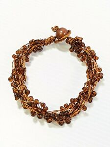 Artisan Brown Glass Bead Wire Wrapped Multi Strand Bracelet 8 Inches