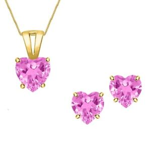 Heart Pink Sapphire Solitaire Necklace Pendant Valentine Set 14k Yellow Gold FN