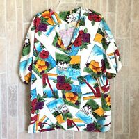 VTG Men's At The Royal Honolulu Hotel Travel Stickers Hawaiian Shirt XL
