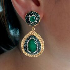 24 K Yellow Gold Plated Teardrop Green Jade Crystal Pave CZ Stud Earrings